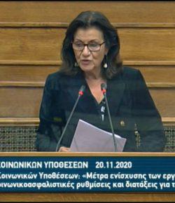 Ομιλία στην κατ' άρθρον συζήτηση για το νομοσχέδιο του Υπ. Εργασίας και Κοινωνικών Υποθέσεων «Μέτρα ενίσχυσης των εργαζομένων και ευάλωτων κοινωνικών ομάδων, κοινωνικοασφαλιστικές ρυθμίσεις και διατάξεις για την ενίσχυση των ανέργων».