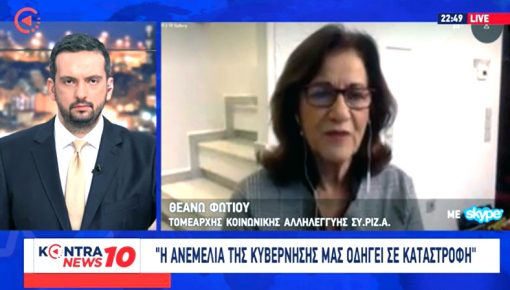 Μιλώντας στο KONTRA TV και τον Γιώργο Μελιγγώνη, ερωτώμενη για την πανδημία και την κρίση.