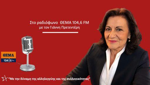Καλεσμένη στο ραδιόφωνο  ΘΕΜΑ 104,6 FM  με τον Γιάννη Πρετεντέρη
