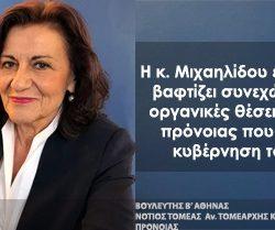 Η κ. Μιχαηλίδου εξαγγέλλει και βαφτίζει συνεχώς «νέες» τις οργανικές θέσεις στις δομές πρόνοιας που σύστησε η κυβέρνηση του ΣΥΡΙΖΑ