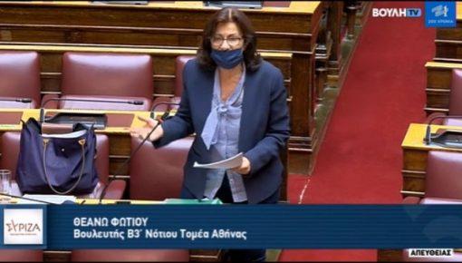 Κατά τη συζήτηση, στη Βουλή, της επίκαιρης ερώτησης με τίτλο: «Αρνούμενοι επί μήνες να παρέμβετε,  καταδικάζετε το Σικιαρίδειο σε οριστικό κλείσιμο και τα παιδιά με νοητικές αναπηρίες σε κοινωνική απομόνωση και περιθωριοποίηση»