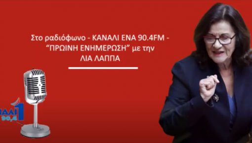 Συνέντευξη στο ραδιόφωνο Κανάλι Ένα του Πειραιά (90,4Fm) και τη δημοσιογράφο Λία Λάππα.